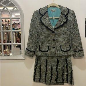 Kay Unger size 8 tweed suit cotton metallic